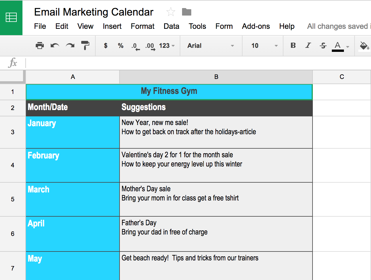 Email Marketing Calendar