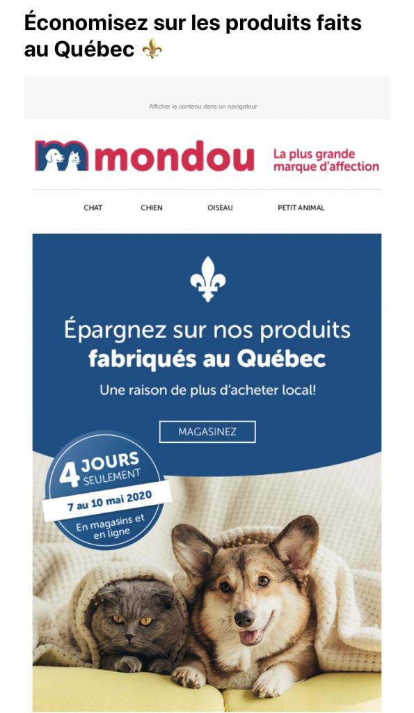 Infolettre Mondou - Produits fabriqués au Québec