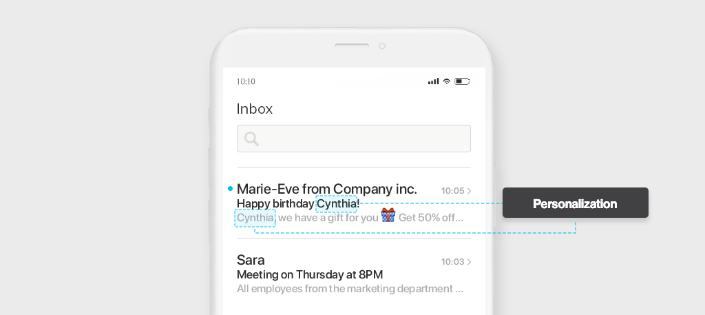 Examples of e-mail personalization - Inbox